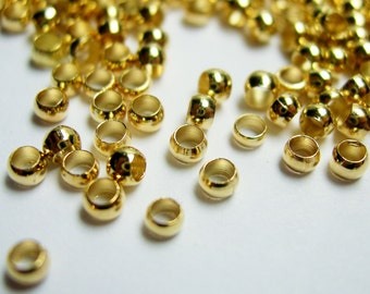Crimp beads 2.3mm 1000 pcs soft gold tone good value - S7