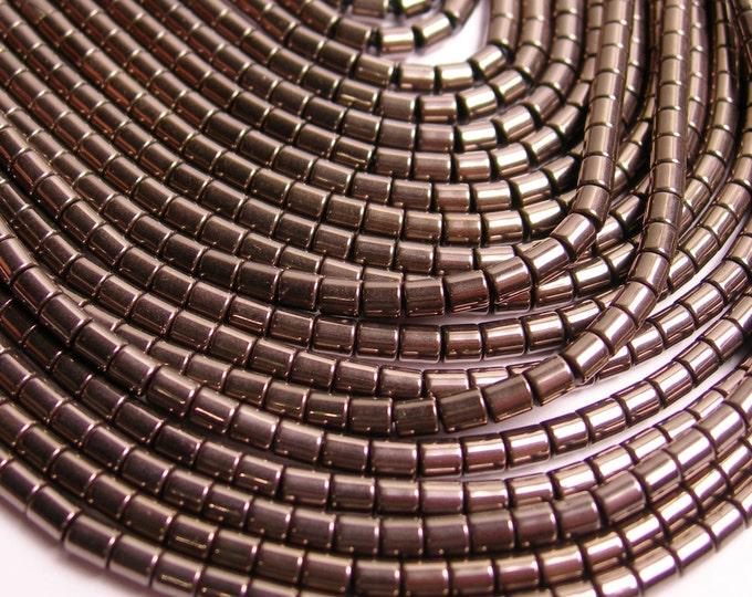 Hematite charcoal - 3mm tube beads - full strand - 130 beads - AA quality - 3x3 - PHG74