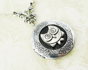Owl Locket Necklace, Antique Silver Locket Necklace, Owl Pendant Necklace