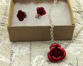 Red Rose Necklace Earring Set, Silver Chain and Ear Studs