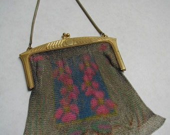 1920's Whiting and Davis Mesh Purse - Art Deco - Floral - Goldtone Purse Frame - Marked in 2 Places - Roaring 20's - Evening Purse