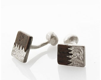 One of a kind articulated silver and walnut cuff links
