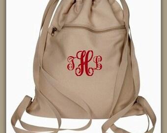 Monogram Cinch Sack - Personalized Canvas Drawstring Bag