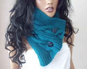 Oil Green UNISEX  cowl / neck warmer / hand knit neck warmers