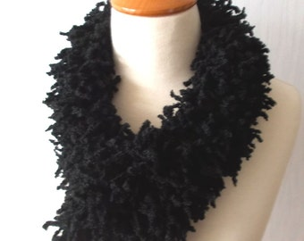 Chunky Fringe Scarf Cowl Neck Warmer with Wooden Button Black Acrylic