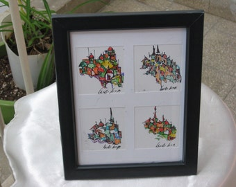 Original framed drawing -- four miniature drawings in one frame - 4 views of Jerusalem landscape