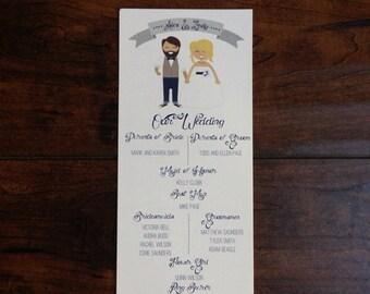 Hipster Couple Wedding Menu or Program