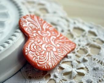 Heart Brooch Shawl Pin / Orange Etched Zephyr Heart / Handmade Valentine's Day Jewelry Jewellery