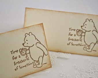 Winnie Place Cards Pooh Food Buffet Candy Bar Signs Baby Shower Birthday Set of 10