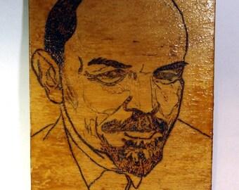 Soviet Red leader LENIN. Woodcut.