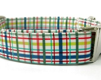 Summer Plaid Dog Collar with Nickel Plate Hardware