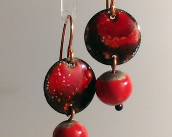 SALE! Enamel and Raku Earrings - Red