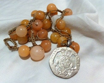 COIN Twenty Pence 2007 Queen Crown Pendant Aventurine Beaded Necklace Unique One of a Kind Collector's Dream