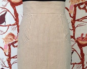 "Free Ship Size 6 Khaki Stripe High Waist Straigh Skirt  Eco Hemp Organic Cotton High Waist Band 18"" Above Knee Pockets Fitted"