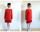 Vintage 80s Red Flare Dress- 4, Drop Waist, Jeannene Booher, Flapper, Mod