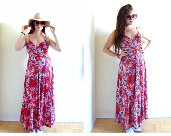 60s Maxi Dress- Red, Small, Boho, Hippie, Urban Outfitters, Coachella, Hipster, Summer