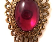 SIAM Color Red Ruby Translucent Cabochon Medieval Style Antiqued Golden Filigree Pin Brooch Authentic Vintage Jewelry talkingfashion