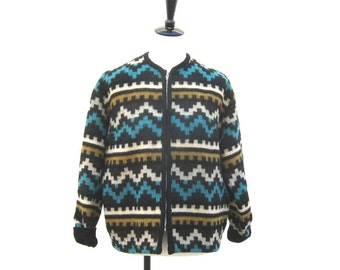 SALE Vintage Navajo Turquoise Wool Baseball Varsity Style Jacket Mens M, Ladies L