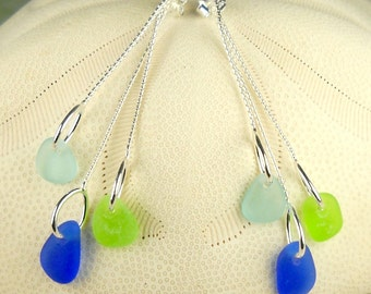Beach Earrings GENUINE Sea Glass Earrings Trio Cobalt Blue Turquoise And Green Seaglass Gift For Her Sterling Silver Dangle Earrings