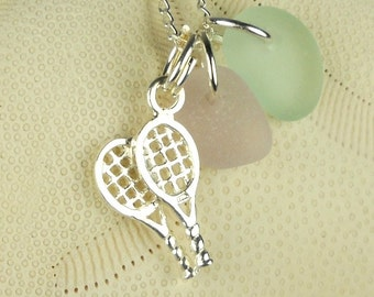 Sterling Silver Tennis Racket Charm with GENUINE Sea Glass Lavender Aqua