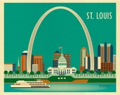 St. Louis Skyline Art Print, St. Louis Wall Art,  St. Louis Ach, St. Louis Map Print, St.  Louis Nursery Room, Loose Petals - style E8-O-STL