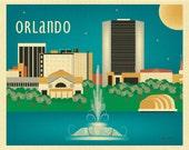 Orlando, Florida Print, Orlando Skyline, Florida Travel Art Print, Blue Orlando FL horizontal print, Loose Petals Art Gift - style E8-O-ORL