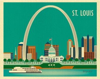 St. Louis Skyline Art Print, St. Louis Wall Art,  St. Louis Ach, St. Louis Map Print, St.  Louis Nursery Room, Loose Petals - style E8-O-STL
