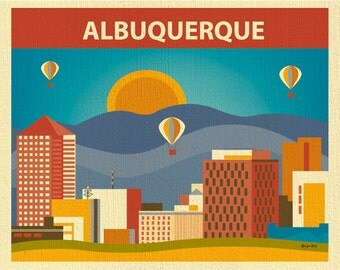Albuquerque Skyline Art Print, Albuquerque Artwork, Albuquerque New Mexico Wall Art, Albuquerque Digital horizontal print - style  E8-O-ALB