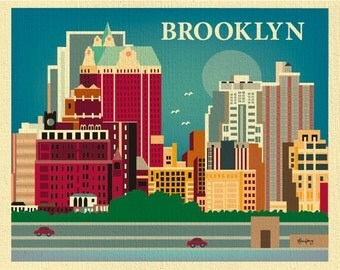 Brooklyn Art Print Skyline, Brooklyn NY Wall Art, Brooklyn Horizontal Print Gift, Brooklyn Decor, Loose Petals City Art - style E8-O-BRO