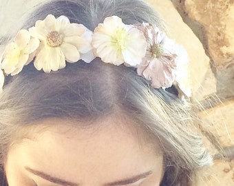 Flower crown headband: lavender and cream, natalie