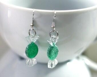 Green Sugar Christmas Candy Repurposed Christmas Ornament Earrings - Christmas Earrings - Charm Earrings