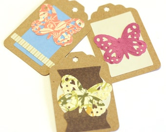 3 Large Kraft Gift Tags - Hand Decorated with Butterfly Cutouts - One of a Kind Embellishments