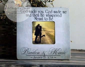 God Made You God Made Me Picture Frame, Rustic Picture Frame, Personalized Wedding Picture Frame