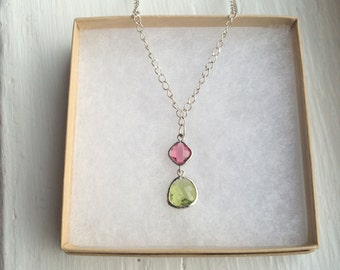 The Petal- Ruby Pink and Sage Green Faceted Silver Pendant Necklace