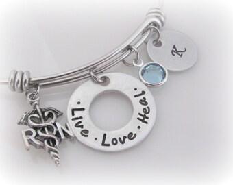 Initial Nurse Bracelet Charm Bangle Live Love Heal RN or LPN Birthstone Jewelry  Gift for Nursing School Graduate Adjustable Bangle Bracelet