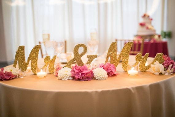 Glitter Mr And Mrs Wedding Signs Table Signs For By