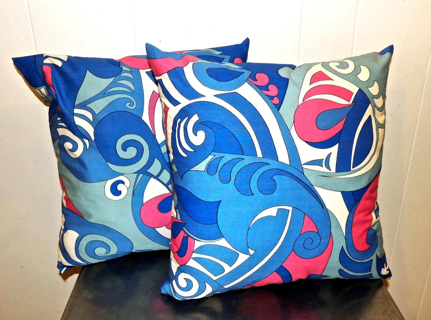 Vintage Blue Throw Pillows : vintage blue mod throw pillows 1960s mid century abstract