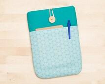 kindle sleeve / kindle fire HDX case / kindle paperwhite case / kobo mini case / kindle voyage sleeve - blue circles with pockets -