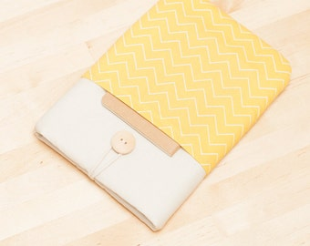 kindle paperwhite cover / kindle fire HDX 7 case / Kobo aura HD case / kobo mini case - chevron yellow with pockets -