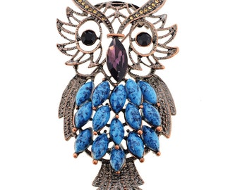 Vintage Style Turquoise Owl Pin Brooch 1004162
