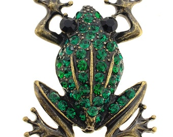 Vintage Style Green Frog Crystal Pin Brooch 1001781