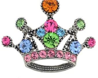 Multicolor Crown Brooch 1000592