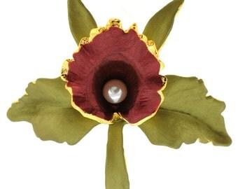 Green Dark Red Orchid Flower Brooch Pin 1011912