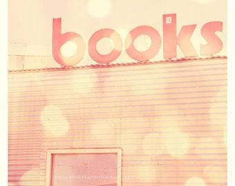 books photograph, pink nursery art, baby kids room, library art, school decor, architecture alphabet font letters sign, yellow, art print