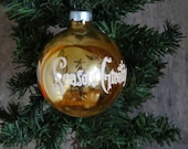 Vintage Christmas Seasons Greetings Gold Glass Ornament Lovely Piece Made In The USA