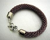 Eggplant Bead Crochet Bracelet -  Purple Bangle - Violet Beaded rope bracelet
