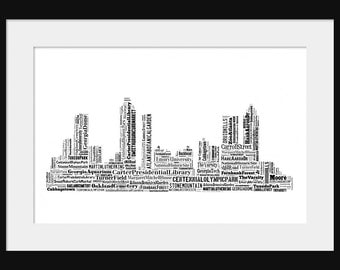 Atlanta Skyline Word Art Typography Black and White - Typographical Print Poster
