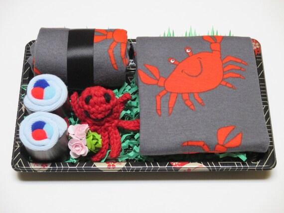 Baby Sock Sushi - Amigurumi Octopus - Crab Pajamas - Unique Baby Boy Shower Gift