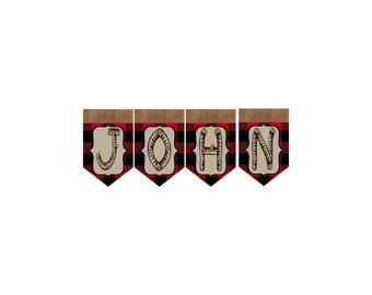 Lumberjack Buffalo Plaid Custom Name Add On For Banner