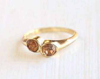 Dainty Double Crystal Cocktail Ring Light Topaz Crystal // Size 8  // everyday gold jewelry
